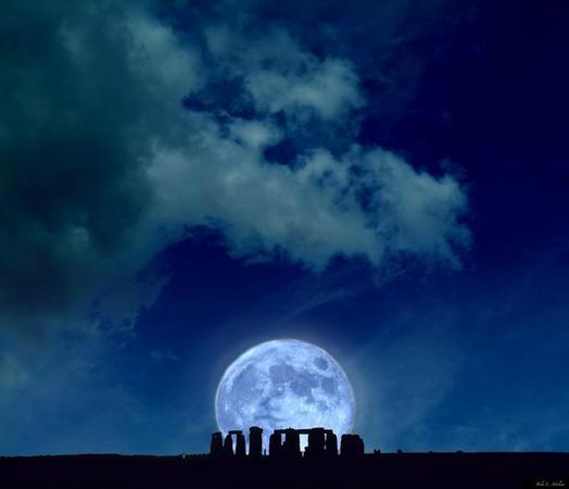 Stonehenge under the winter solstice moon