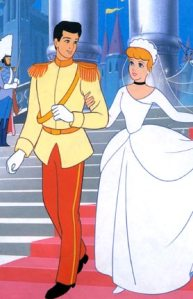 Prince Charming and Cinderella wedding day